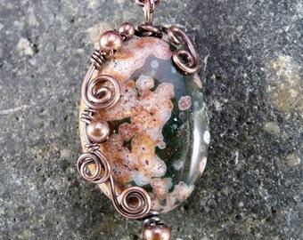Wire Wrapped Ocean Jasper Pendant Necklace, Copper.