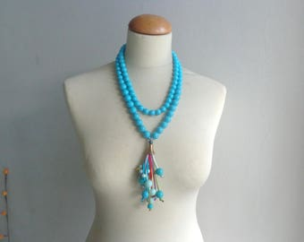 Turquoise tassel Statement necklace longer style multistrand
