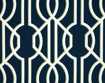Deco Navy cotton fabric by the yard lattice Magnolia Home Fashions