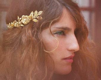 Couronne Fleurs Floral, bandeau de déesse grecque, romaine Tiara, accessoire de cheveux mariée, or Couronne florale, fleur couronne, fleurs or