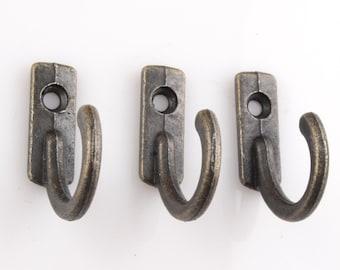 set of 10 hooks,key hooks,metal hooks,decorative hooks,furniture hook,jewelry hooks,shelf with key hooks,27mmx21mmx7mm(with screws)