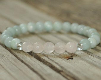 Love, Amazonite and Rose Quartz, Mala Bracelet, Prayer Bracelet, Meditation Bracelet, Intent Bracelet, Crystal Healing, Yoga Bracelet