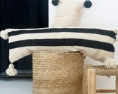 Moroccan POM POM Wool Pillow Cover - Extra Long in Black Bands