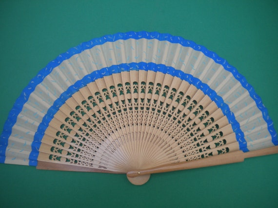 Wooden Hand Fan Blue and Cream Fret Ribs by Kate Dengra Spain READY to SHIP