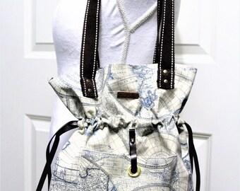 Drawstring shoulder canvas bag