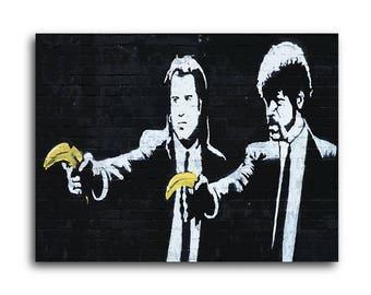 Banksy Pulp Fiction Bananas Brushed Aluminum Metal Print
