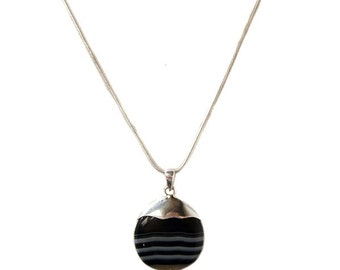 """Striped Black Onyx Agate Cabochon Sterling Silver Necklace, Black and white Onyx Gemstone pendant Necklace with 22"""" Sterling Silver Chain"""