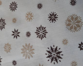 Fabric pattern Brown and taupe on beige background, patchwork, sewing, 76 x 30 cm