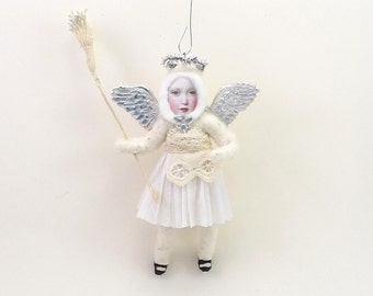 Vintage Inspired Spun Cotton Silver Angel Child Ornament (MADE TO ORDER)