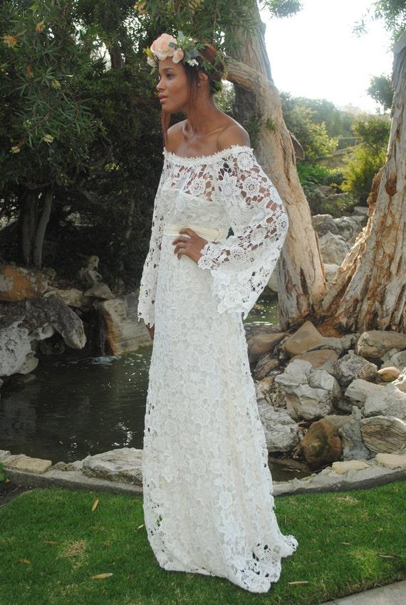 handmade BELL SLEEVE crochet lace bohemian wedding dress / off