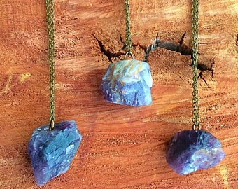 Amethyst necklace stone necklace raw stone jewelry rock necklace boho necklace earthy necklace