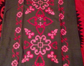 Vintage Mexican Hand Cross Stitched Dress Pink Flowers and Hearts on Black Cotton