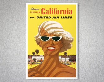 Southern California via United Airlines  Vintage Travel Poster - Poster Print, Sticker or Canvas Print / Gift Idea