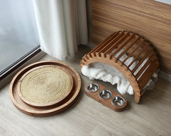 Cat furniture SET - For Your Posh Cat. cat house, cat hammock, cat bed, cat scratcher, cat bowl, cat feeder, cat toy, cat lounge, cat gift