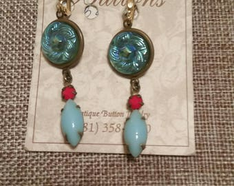 ANTIQUE BUTTON EARRINGS Irridescent Lustre Glass adorned with Vintage Gemstones Opaque Red and Turquoise Navette Stones Prong Set
