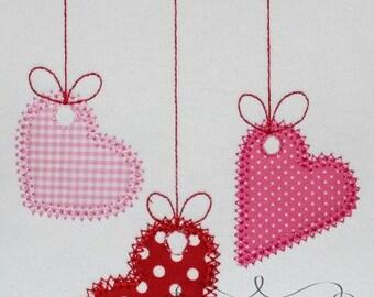 Valentine's Day 3 Hanging Hearts Digital Embroidery Design Machine Applique