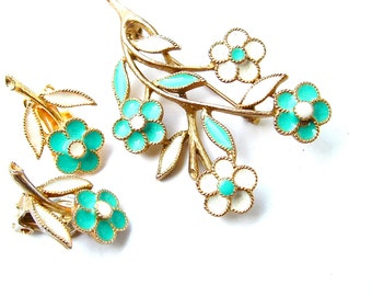 Enamel Flower Bouquet Jewelry Brooch Earring Wildflower White Turquoise Jewelry Set