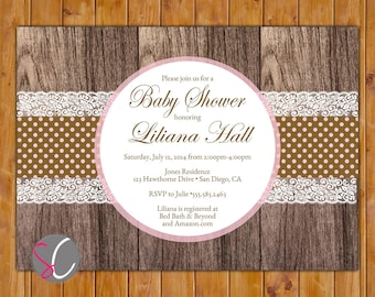 Country Lace Baby Shower Invite Brown Pink Polka Dots Rustic Bridal Shower Invitation Wood It's a Girl Invite 5x7 Digital JPG (363)