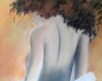 Pastel nude woman figure