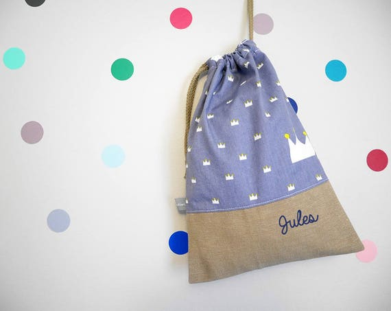 Customizable drawstring pouch - cuddly toy bag - name - kindergarden - crowns - king - queen - blue gray - yellow - slippers or toys bag