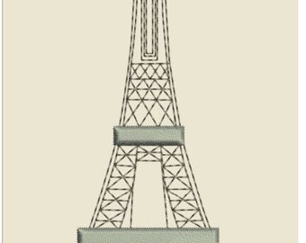 """EIFFEL TOWER  machine EMBROIDERY instant download 3 different sizes (5x5"""" 7x7 """"10x10""""hoop)"""