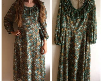 Stunning vintage 1960s brown and green dress