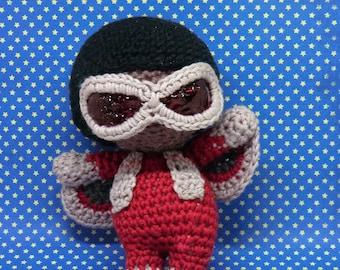 Falcon Sam Wilson amigurumi style PDF crochet pattern inspired by Marvel avengers
