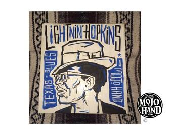 Lightnin Hopkins blues folk art painting on wood by Grego of mojohand.com - outsider art