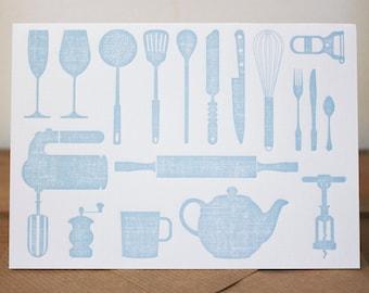 Kitchen Letterpress card