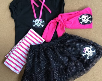 4 PIECES . Size 12 Months. Baby PIRATE. Pirate Baby Girl. Pink Pirate. My first Halloween. Pirate Hat.