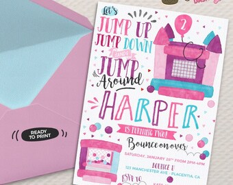 Girls Pink Purple Bounce House Birthday invitation Girly jump Birthday invitations Printable Watercolors birthday invitations bouncy house
