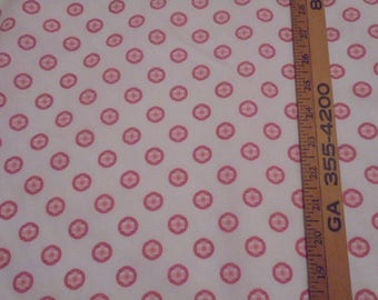 """Waverly """"Itsy Bitsy"""" Vintage cotton Fabric-Pink & White- New- 1 1/2"""" pattern repeat- 46 inches wide-Sold By The Yard"""