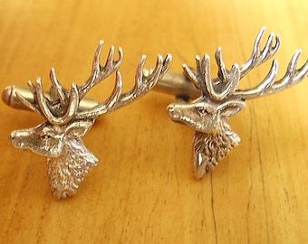 Sterling Silver Stags Head Cufflinks In Presentation Box