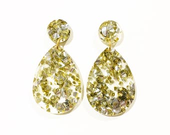 DROP earrings. Gold and silver glitter.