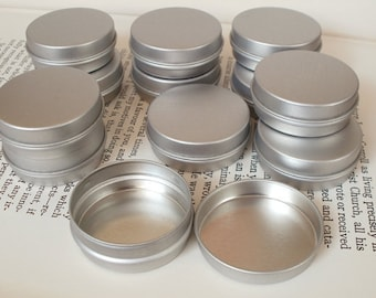 15ml Mini Metal Tins, Small Storage Box, Blank Round (Set Of 20) Silver Color