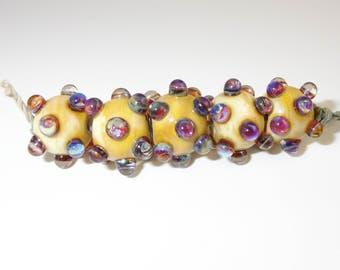 Silver Glass Bumpy Beads - Prima Donna Beads