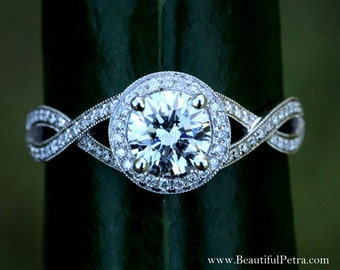 Diamond Engagement Ring - 1.00 carat Round - Pave - Antique Style - 14K white gold - Weddings- Luxury- Brides - Bph032