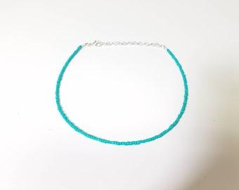 Turquoise beaded choker necklace, turquoise glass seed beads, minimalist choker, turquoise boho choker, small seed bead choker