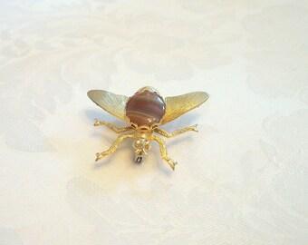 Vintage Fly Brooch Cabochon Goldtone