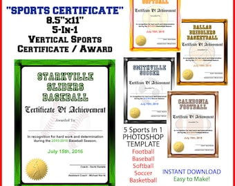 5 in 1 sports award certificate achievement photoshop 5 in 1 sports award certificate achievement photoshop template vertical for football baseball yelopaper Images