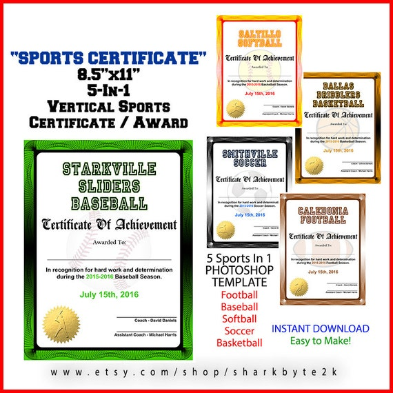 5 in 1 Sports Award Zertifikat Achievement-Photoshop-Vorlage.