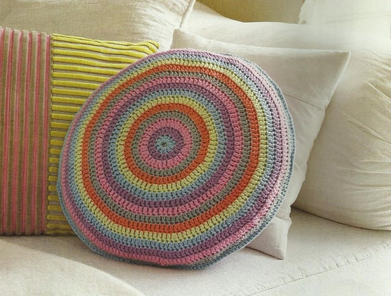 Crochet Round Cushion Pdf Crochet Pattern Instant Download From