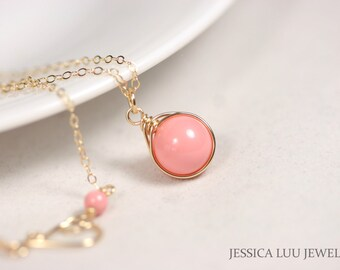 Gold Pink Coral Necklace Wire Wrapped Jewelry Handmade Gold Necklace Gold Jewelry Pink Necklace Pink Coral Jewelry Swarovski Pearl