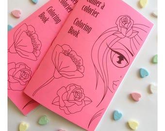 Coloring book - Cahier à colorier, Flowers, Illustration