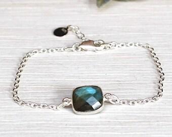 faceted labradorite set on a chain bracelet 925 sterling silver