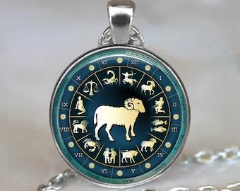 Blue Wheel Zodiac, Aries pendant, Zodiac necklace Aries jewelry Aries necklace, Aries birthday gift astrology key chain key ring key fob