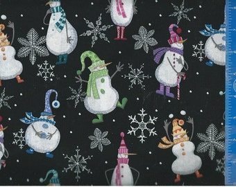 Snowman Dancing Snowflake Dot (Black) Fabric Quilting Crafting Home Decor