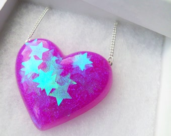 Holographic Opal Purple Pink Iridescent Stars Heart Shaped Pendant Necklace Kawaii Kitsch Candy Festival Summer Charm Kitsch Playful