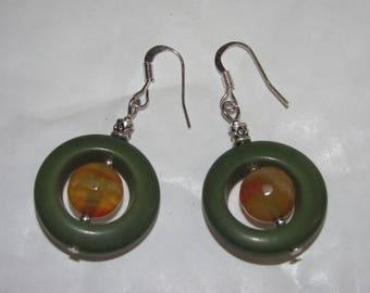 Enclosed agate earrings
