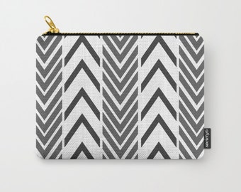 Black and White Arrow Make-up Bag - Carry All Pouch- Toiletry Bag - Change Purse - Organizing Bag - Made to Order
